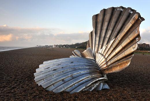 maggi hambling, scallop, sculpture, aldeburgh, beach, suffolk, coast
