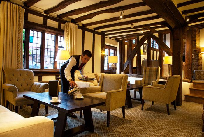 Oak-beamed Lounge, The Swan at Lavenham, hotel, restaurant, spa